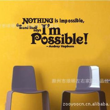 Nothing Is Impossible Quote Window Home Black PVC Wall Sticker Art Mural Decal SM6