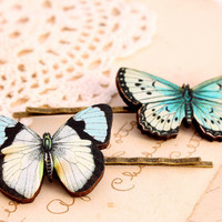Blue butterfly hair clips, butterfly hair pin, woodland wedding, wooden hair clip, butterfly jewelry, bridesmaid hair clip