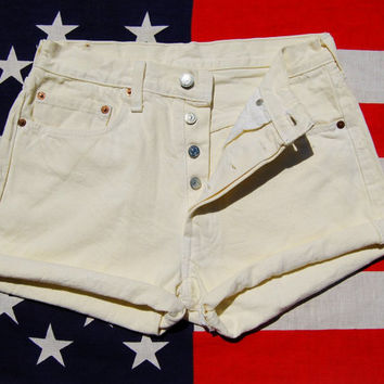 Yellow Levis 501 Shorts - Button Fly 29 W - High Waisted Shorts - Vintage Levi High Waisted Denim Shorts - 90s Grunge - White Daisy Dukes