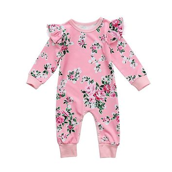 Cute Infant Baby Rompers For Girl Boys Floral Romper Jumpsuit Birthday Gift Wear Toddler Baby Pajamas Kids Baptism Clothes