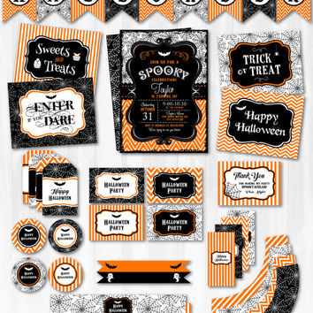 Halloween Invitations - Halloween Party Decorations - Halloween Party Favors - Halloween Labels - INSTANT DOWNLOAD - edit NOW!