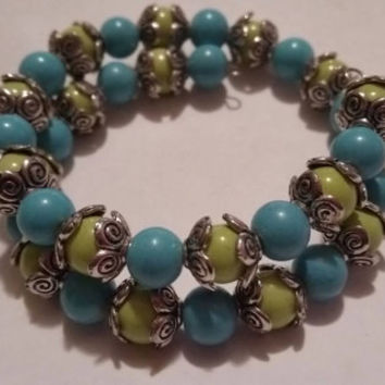 Lime Green and Teal or Turquoise Memory Wire Bracelet with Silver Filled Bead Caps. Charm Optional and Added Upon Request