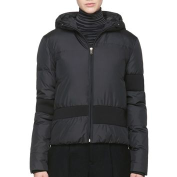 Mm6 Maison Martin Margiela Black Nylon And Knit Down Coat