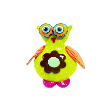 Owl sculpture made with polymer clay 100%handmade-animal Collectibles green