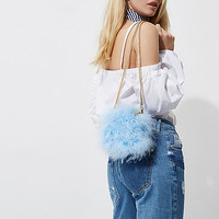 Blue feather cross body mini chain bag - Cross Body Bags - Bags / Purses - women