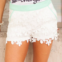 Flowers Galore Shorts Mint/White