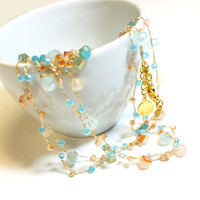 Baby Blue Moonstone Silk Thread Necklace