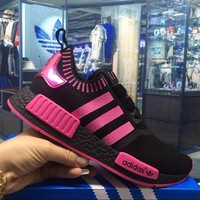 Best Online Sale Adidas Originals NMD R1 Black Pink Boost Sport Running Shoes Classic Casual Shoes Sneakers