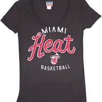 NBA Miami Heat Women's Champion Tee Shirt by Junk Food | Large selection of vintage style NBA and NFL tee shirts for Men and Women