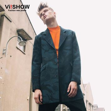 Viishow Long Trench Coat Casual Slim Fit Jacket Mens Camouflage Trench Overcoat  Pea Coats for Men M-XXL F102853