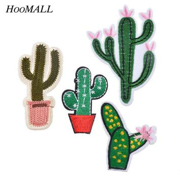 ac NOOW2 Hoomall Hot Sell Mixed 4PCs Patches For Clothing Jeans Iron On Appliques Embroidered Fabric Patch DIY Cactus Sewing Accessories