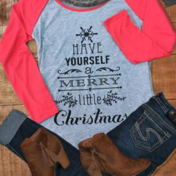 Merry Christmas Printed Long Sleeve Splicing T-Shirt