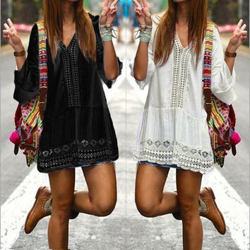 Celmia Women Casual V Neck 3/4 Flare Sleeve Crochet Hollow Out Short Dress 2017 Elegant Bohemian Beach Summer Dresses Vestidos