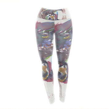 """Rebecca Bender """"Grizzly Bear Watercolor"""" Abstract Animal Yoga Leggings"""