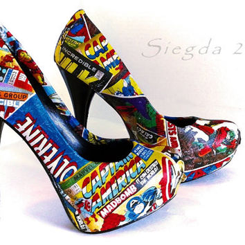 Marvel Comic Book-Women's heels-Party Pumps-Hulk-Xmen-Captain America-Iron Man-Spiderman-Geek Chic-Custom Decoupage Shoes-