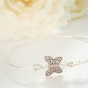 Butterfly Bracelet - Bangle Bracelets - Insect Jewellery - Silver Plated Jewelry - Summer Bracelets - Charm Jewelry - Bridesmaid Gift