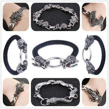 19 Vintage Antique Silver Stainless Steel Men's Bracelet Dragon Skull Wolf Spider Eagle Snake Charm Rope Chain Bangles Jewelry