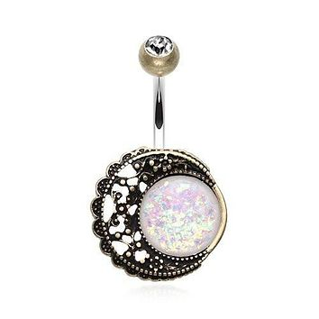 Vintage Filigree Moon Opal Belly Button Ring