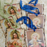 Religious Gift Tags Sacred Immaculate Heart Virgin Mary Child Jesus Gift Tags