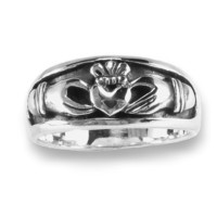 Claddagh Band Ring Mens Womens Inset Design Sizes 6-14 Antiqued Sterling Silver