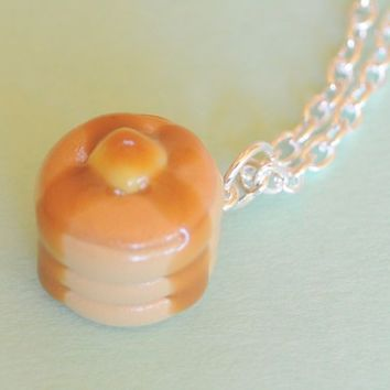 Stack of Pancakes Necklace Polymer Clay Food by PumpkinPyeBoutique