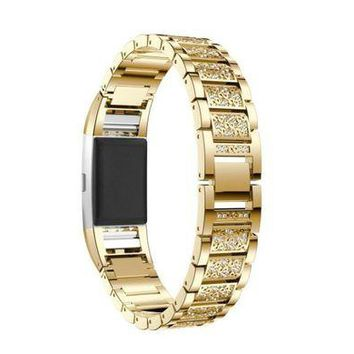 LMFMS6 Smart Watches MM&I Luxury Crystal Stainless Steel Metal Wristband Strap Band For Fitbit Charge (Gold)