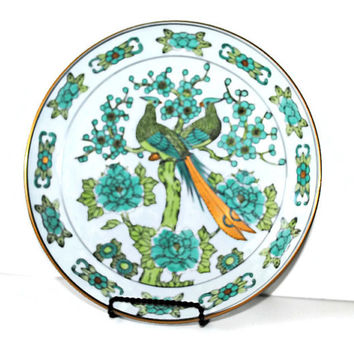 GOLD IMARI Hand Painted Porcelain Plate With Emerald Green & Turquoise Peacocks and Beautiful Florals