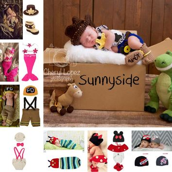 Classic Crochet Baby Cowboy Hat and Boots set Newborn Photo Props for Boys Infant Toddler Knitted Costume 0-6M 1set MZS-14026