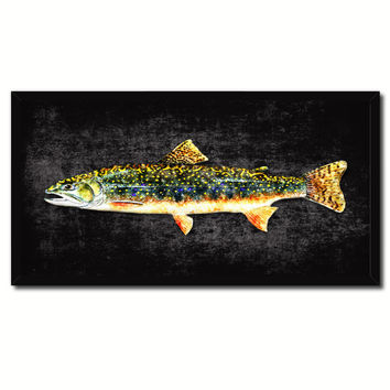 Brook Trout Fish Art Black Canvas Print Picture Frames Home Decor Nautical Fisherman Gifts