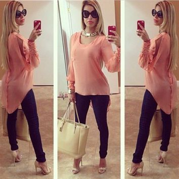 Stylish Long Sleeve Summer Chiffon Shirt