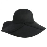 New Fashion Vintage Black Wide Brim Wool Felt Bowler Fedora Hat Floppy Cloche