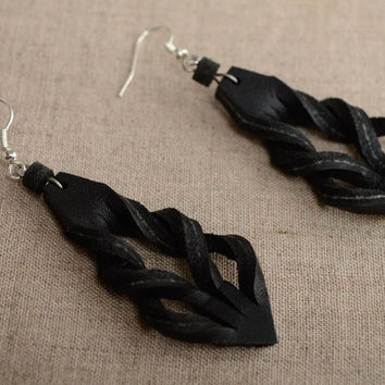 Handmade leather earrings Costume jewelry Vintage accessories Gift ideas for her