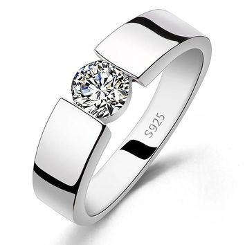 Diamond Wedding Ring 925 Sterling Silver Ring Titanium Steel Ring
