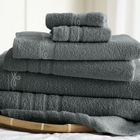 6 piece embroidered egyptian cotton towel set - Vintage Ribbon - Gray
