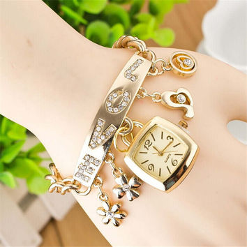 Womens Girls Love Leaf Gold Sports Band Strap Watch Best Gift Watches-454