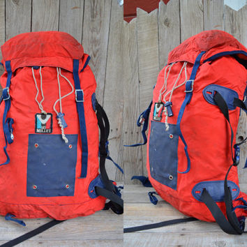 Vintage Soft Frame Sacs Millet Red And Navy Cordura & Suede Leather Mountaineering Backpack