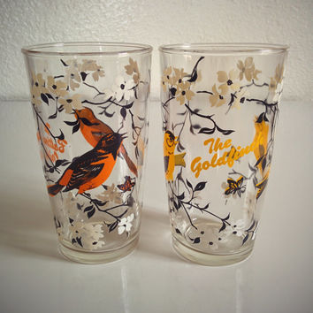 Vintage 50's Bird Drinkware White Floral Baltimore Oriole and Goldfinch Drinking Glasses