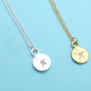 Personalized letter, Initial, Coin, Gold, Silver, Necklace, Minimal, Letter, Necklace, Dainty, Jewelry, Small, Initial, Gift, Necklace