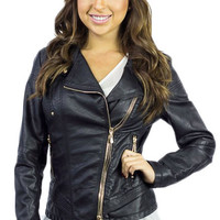Black Vegan Leather Jacket with Triple Gold Zipper Detail