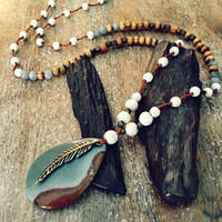Long beaded feather necklace, boho hippie jewelry