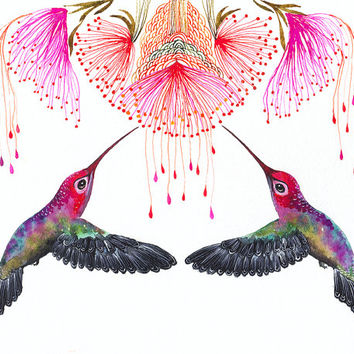 Hummingbirds and flower // SALE 3 for 2 // Together, birds watercolor art print, size 10x8 (No.29b)