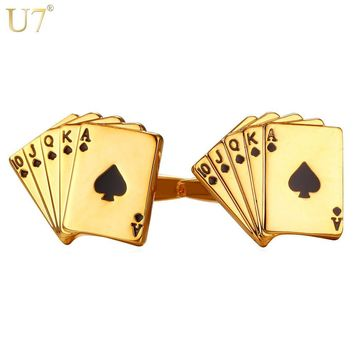 U7 Poker Cufflinks for Mens Shirt Accessories Gold Color High Quality Cuff Links Buttons Wedding Men Jewelry Groomsmen Gifts