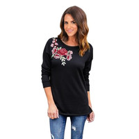 long sleeve tshirt women  O Neck Floral Print Casual Black t-shirt women Tops tee shirt femme #23 GS