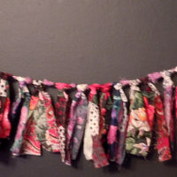 Gypsy torn fabric valance bunting banner swag black pink red roses toille victorain ooak