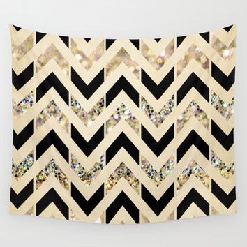 Black & Gold Glitter Herringbone Chevron on Nude Cream Wall Tapestry by Tangerine-Tane