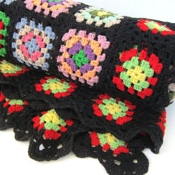 vintage afghan blanket throw / granny squares black, pink, yellow and green colors Retro grandma home decor MOD Hipster Apartment blanket