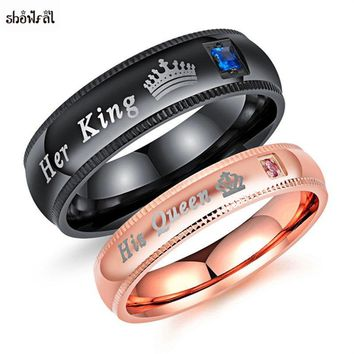 Cool Her King His Queen Crown Ring Rose Gold Black Titanium Promise Rings Stainless Steel Wedding Band Set Anniversary Engagement SetAT_93_12
