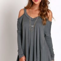 Grey Open Shoulder Top