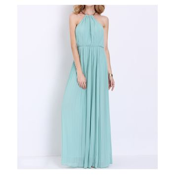 Mint Green Sleeveless Halter Pleated Maxi Dress