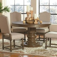 5 pc Willem collection antique ash brown finish wood round top dining table set